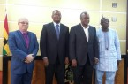 H.E Prez John Mahama in a pose with members of the commission after the presentation