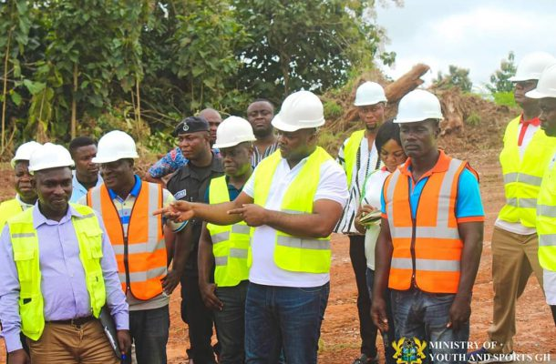 Sports Minister Inspects Ongoing Project at Dormaa-Ahenkro